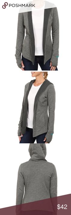The North Face Green Harmony Park Wrap New without tags. Wrap up your time at the yoga studio with this cozy jacket from The North Face®. Cozy cardigan-style wrap features an attached hood. Elasticized cuffs with thumbholes. Angled hemline. 84% cotton, 11% polyester, 5% elastane. Machine wash cold, tumble dry low. Imported. Product measurements were taken using size XS. Please note that measurements may vary by size. Measurements: Length: 22 in North Face Jackets & Coats