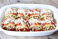 Spinach/artichoke lasagna rolls