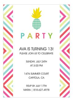 Pineapple and Bright Graphics Party Invitation | Summer Party Invitations | Polka Dot Design