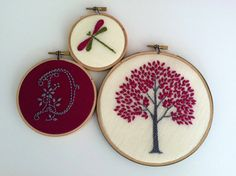 Initial. Tree. Dragonfly. hand embroidered. monogram. custom letter. home decor. hoop art. nature lover's gift. hand embroidery by mlmxoxo
