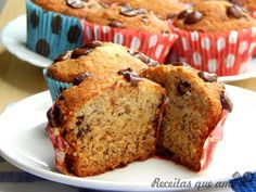 Muffin de banana com chocolate | Receitas que amo