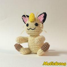 Meowth ( Pokemon Character) - Free Amigurumi Crochet Pattern here: http://melichrous.blogspot.com/2014/07/meowth-pattern.html