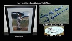 """Larry Yogi Berra Framed Signed 11x14 Photo Full Name Display JSA COA Yankees HOF . $300.00. Hall of Fame Catcher and ManagerYogi Berra Hand Signed 11x14"""" Color PhotographRare Full Name SignatureProfessionally Matted and Framed in a 17x21"""" (appx) Black FrameReady for Display!Yogi Berra Played For:New York Yankees 1946-1963New York Mets 1965Berra was inducted into the Hall of Fame in 1972GREAT AUTHENTIC YOGI BERRA NEW YORK YANKEES BASEBALL COLLECTIBLE!! . AUTOGRAPH AUTHENTICATED ..."""