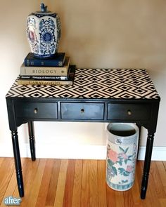 refinished table...Chevron zig-zags in light and dark stain---good idea for cracked kitchen table.