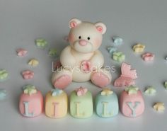teddy bear christening or birthday cake topper set  by www.lucys-cakes.com, via Flickr