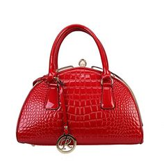 Rimen & Co Patent Dr Style Crocodile Texture Leather Solid Shiny Color Design Turn Lock Closure Handbag Adjustable Shoulder Strap Roomy Interior Purse Handbag (Red)