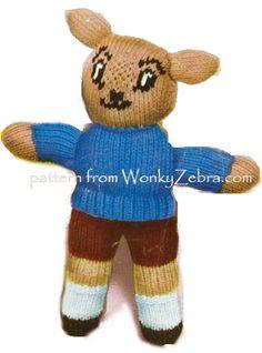 a proper little boy rabbit;Sixties style! knitting pattern PDF pattern WZ036 from WonkyZebra.com