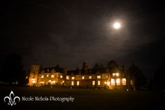 The Mansion at night with a beautiful full moon in the background! Photography: Nicole Nichols Photography