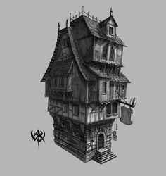 Fantasy City, Fantasy House, Fantasy Rpg, Medieval Fantasy, Medieval Houses, Medieval Town, Environment Concept Art, Environment Design, Casa Estilo Tudor