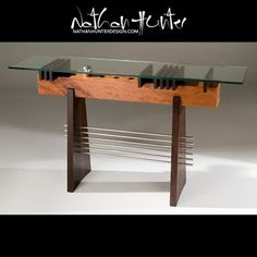 Custom Made Modern Glass Top Hall Table / Sofa Table In Wood And Stainless Steel (Pi Hall Table)