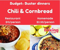 At KBC we are teaching kids that homemade not only tastes better but can save big on the family budget. In your Sugar & Spice kit the chili & cornbread dinner is a budget-buster dinner the whole family will enjoy. #budgetmeals #chili #kidscooking #kidsbakingclub