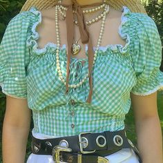 Fresh Green lattice Off Shoulder Short Sleeve Lace Flower Blouse – ebuytide Pretty Outfits, Cool Outfits, Fashion Outfits, Womens Fashion, Cowgirl Chic, Gypsy Cowgirl, Outfit Look, Harajuku, Looks Vintage