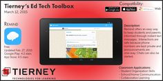 #TierneyTools March 12, 2015: Remind https://www.remind.com/ Follow TierneyEd on Twitter and Tierney Brothers on Facebook for new tech tools! https://twitter.com/TierneyEd https://www.facebook.com/TierneyBrothers #edtech