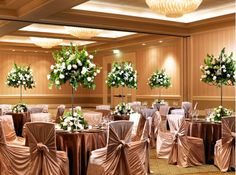 Metallic #wedding décor with big centerpieces at the Sheraton San Diego Hotel and Marina #SPGDreamWedding #SPGWeddings