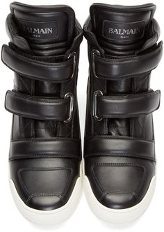 huge selection of 7971b 182ed Balmain Black Leather Velcro High-Top Sneakers Black High Top Sneakers,  Balmain Clothing,