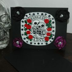 Endless Love Skeleton Embroidered Valentines Day Card ~ Gothic