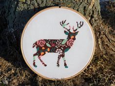 Floral Deer Cross Stitch Pattern PDF Instant by VelvetPonyDesign Modern Cross Stitch Patterns, Counted Cross Stitch Patterns, Cross Stitch Embroidery, Embroidery Patterns, Cross Stitch Kits, Cross Stitch Charts, Geometric Elephant, Deer Crossing, Dmc Floss