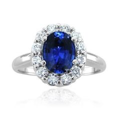 Diamond and Natural Ceylon Sapphire Engagement Ring in Platinum (G, SI1, 2.00 cttw) Certificate of Authenticity
