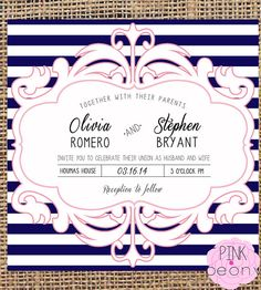 Navy and Pink Wedding invitation  6x6  spring  by PinkPeonyTX, $12.00