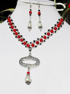 Red jewelry set silver jewelry set pearl jewelry set by ElmsRealm