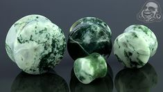 Double flare green tree agate