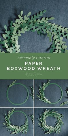 Paper Boxwood Wreath Assembly Tutorial - Furrow and Feather Paper Flower Wreaths, Paper Flowers Diy, Flower Crafts, Diy Paper, Paper Flowers For Wedding, Boxwood Wreath, Diy Wreath, Mesh Wreaths, Fleurs Diy