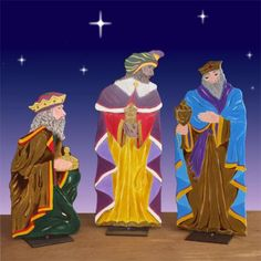 """Life Size Three Kings 2D Display 62""""H-Each figure is handcrafted from water-resistent wood specifically engineered for outdoor use. Tallest figure 62"""". We recommend the use of an outdoor spotlight with this set to reveal the full details of the pieces at night. Signed by the artist. Three flat surface bases and metal lawn mounting stakes are included with each piece. $549.00"""