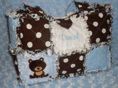 Handmade & Personalized ~Forest Bears~ Baby Boys Rag Quilt DIAPER BAG Bears Bear