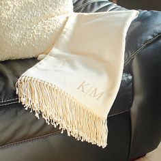 Personalized Cream Throw Blanket