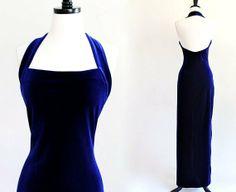 80s Navy Blue Stretch Velvet Halter Backless Bodycon Bandage Goth Steampunk Maxi Dress Gown . L . XL . D054
