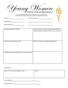 Yw class presidency agenda - help the girls become leaders Young Women Handouts, Young Women Lessons, Young Women Activities, Meeting Agenda Template, Personal Progress, Lds Church, Church Ideas, Women In Leadership, Daughter Of God