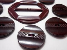 Bakelite Buttons, Brown Bakelite 1930/40s Coat Buttons, Vintage Sewing Notions, Vintage Buttons, Vintage Bakelite Belt Slide, Brown Buttons by Beadgarden55 on Etsy