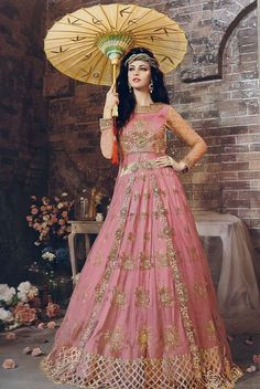 Steal the hearts away with this pink net lehenga and salwar suit. The stunning embroidered and resham work all through the dress is awe inspiring. Women Salwar Suit, Salwar Suits, Lehenga, Ball Gowns, Formal Dresses, Pink, Collection, Fashion, Ballroom Gowns