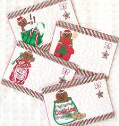 Ginger Mug Rugs - 5x7 | Christmas | Machine Embroidery Designs | SWAKembroidery.com Oma's Place