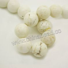 Gemstone Beads, Magnesite, White, Smooth round, Approx 16mm, Hole: Approx 1.2mm, 24pcs per strand, Sold by strands