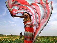 Photo: A woman wearing a colorful wrap