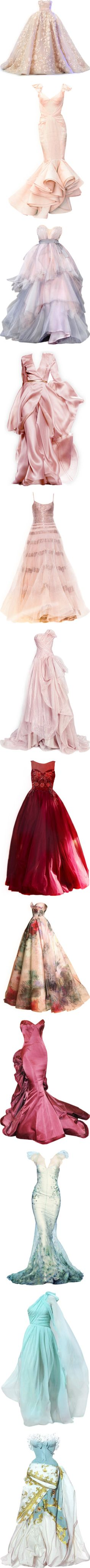 Dream gowns by satinee on Polyvore featuring women's fashion, dresses, gowns, long dresses, vestidos, pink gown, elie saab, pink evening dress, pink ball gown and pink dress