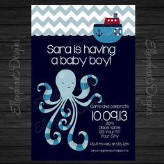 Octopus nautical baby shower Invitation, Boy, ship, tugboat, dark blue or light blue, fully customizable invite, digital file, you print on Etsy, $15.00
