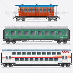Passenger Railway Waggon, Railroad Passenger Car  #GraphicRiver         Set of…