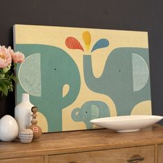Elephant Family Jumbo Wood Panel Print by Petit Collage, Posters & Prints, Art for Children
