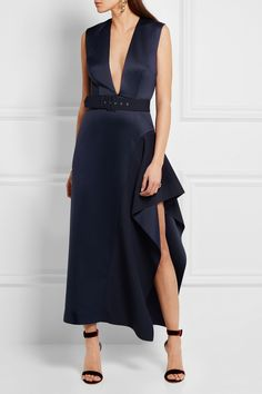 Solace London | Simpson asymmetric belted charmeuse midi dress | NET-A-PORTER.COM