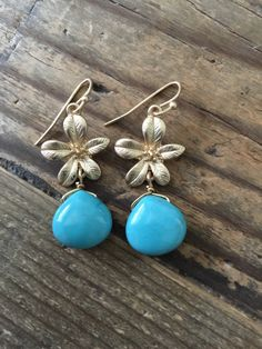 Handmade Brushed Gold & Turquoise Floral Drop Earrings by TheCharmsofLondon on Etsy