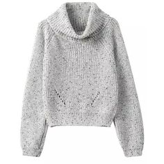 SheIn(sheinside) Grey High Neck Crop Knit Sweater ($23) ❤ liked on Polyvore featuring tops, sweaters, jumpers, pullover, sweatshirts, grey, knit pullover sweater, grey sweater, pullover sweater and knit sweater