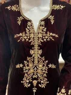 Wine Velvet Suit with Hand Embroidery, Indian Ethnic Wear, Cut-Daana & Pearl Work, Girls Suits, Boho Embroidery Suits, Hand Embroidery, Pearl Embroidery, Zardozi Embroidery, Geometric Embroidery, Mexican Embroidery, Flower Embroidery, Embroidery Patterns, Machine Embroidery