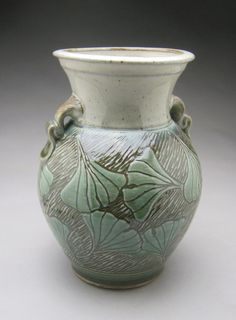 Stoneware Ginkgo Leaf Vase, collaborative vase by Michèle Hastings and Jeff Brown