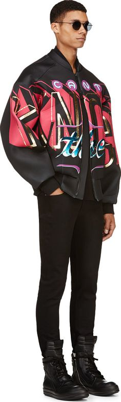 Don't be shellfish...030000 In true street wear fashion, the Juun.J 'Can't Knock The Hustle' Bomber Jacket comes with a gorgeous graphic detail and oversized fit. A plethora of colors cover the jacket, which has a black base color to bring out the vibrant colors. Purple, light blue, fuchsia, white, metallic gold, and turquoise colors are all …