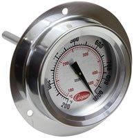 Thermometers - 2225-20 Flange Mount Pizza Oven Thermometer With Dual Scale
