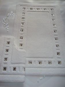 Bath Mat Set Diamante White Bling Ebay