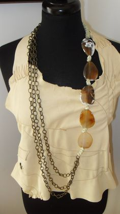 Chain Chain Chain Agate Necklace by Gahatto on Etsy, $85.00