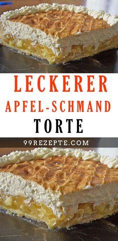 LECKERER Apfel – Schmand – Torte Die Kombination aus säuerlichen Äpfeln und Sahne-Schmand-Creme schmeckt einfach himmlisch. Die Torte hat sich nicht ohne Grund zu einem echten Klassiker gemausert. #LECKERER #Schmand #Torte #rezepte